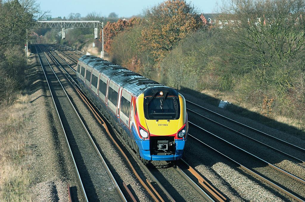222003 Cossington 23/11/2012<br /> 1C45 1227 Sheffield-London St Pancras