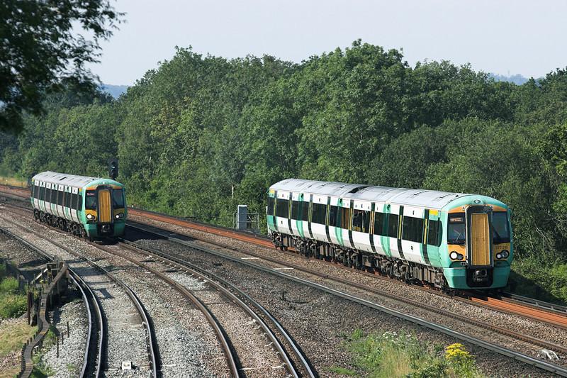 377210 and 377163, Salfords 26/7/2012<br /> 377210: 1C02 1619 London Victoria-Horsham<br /> 377163: 2C95 1603 London Bridge-Horsham