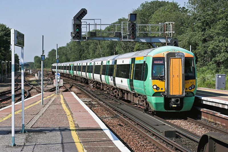 377113 and 377426, Three Bridges 26/7/2012<br /> 1J82 1532 London Victoria-Southampton Central/Bognor Regis