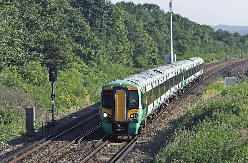 377464 and 377131, Salfords 26/7/2012<br /> 1F45 1548 Ore-London Victoria