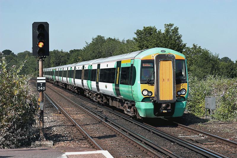 377410 and 377205, Haywards Heath 26/7/2012<br /> 1A16 1506 London Victoria-Brighton