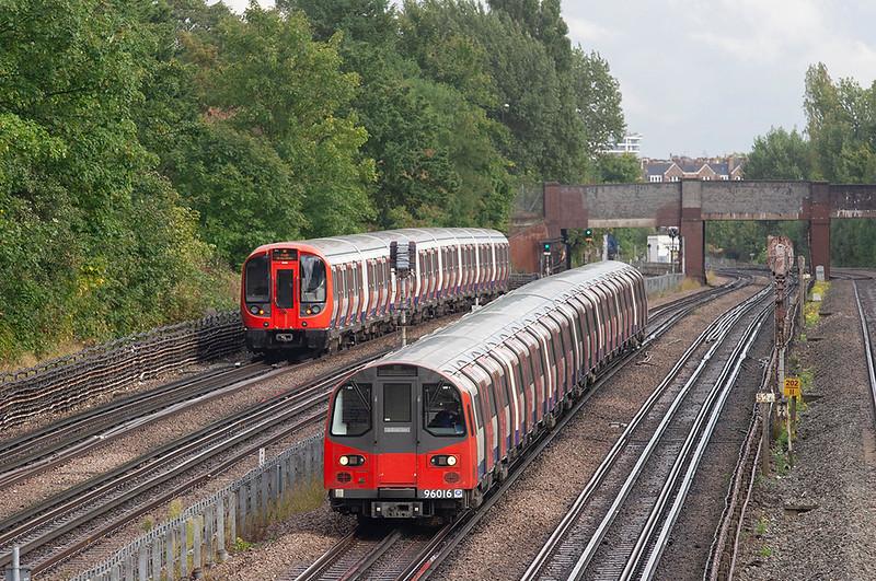 Jubilee Line 96016 and Metropolitan Line 21104, Willesden Green 26/9/2012