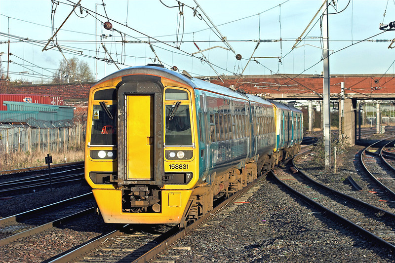 158831 and 150283, Warrington Bank Quay 29/11/2012<br /> 1D33 0850 Manchester Piccadilly-Holyhead/Llandudno