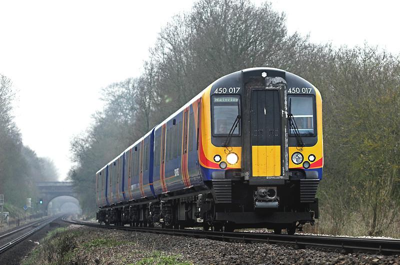 450017 East Oakley 30/3/2012<br /> 2B32 0849 Poole-London Waterloo