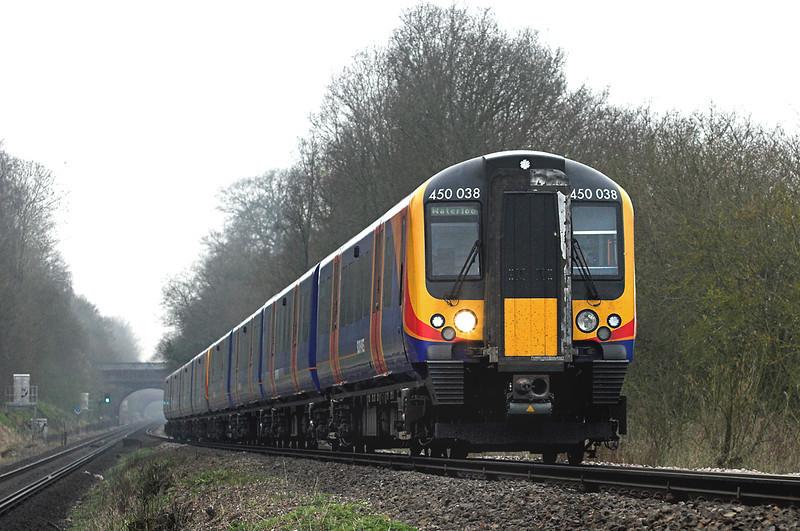 450038 and 450080, East Oakley 30/3/2012<br /> 1W52 0820 Weymouth-London Waterloo