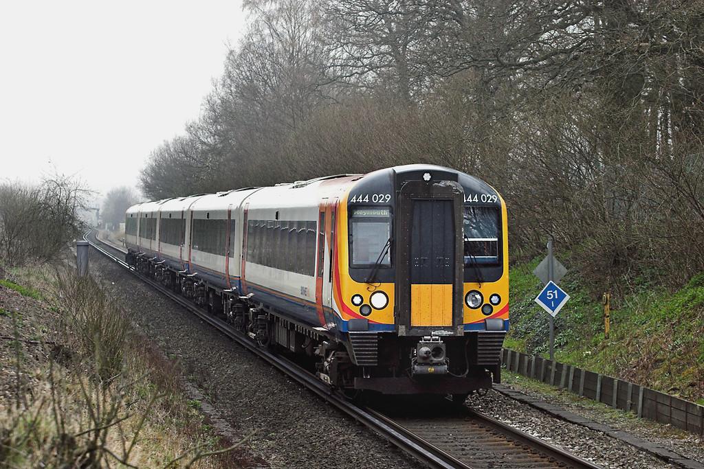 444029 East Oakley 30/3/2012<br /> 1W21 1035 London Waterloo-Weymouth