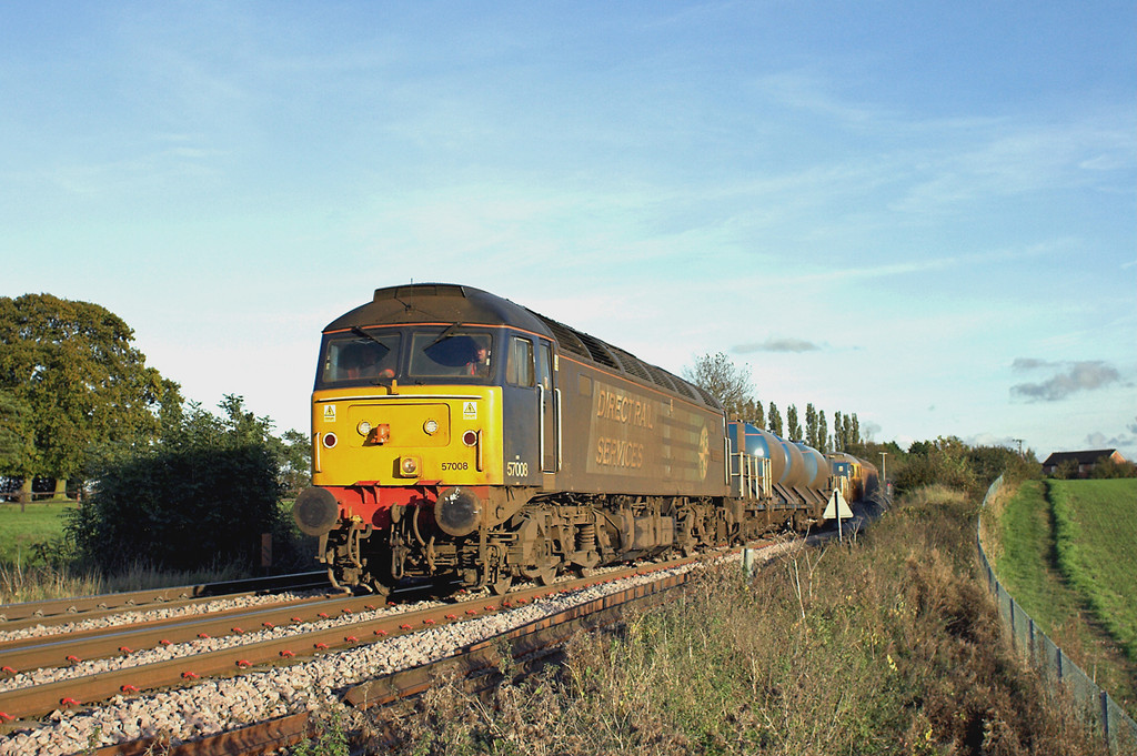 57008 and 57305, Elmswell 30/10/2012<br /> 3S60 0834 Stowmarket-Stowmarket<br /> (via Shenfield, Clacton, Colchester, Ely, Norwich and Ely)
