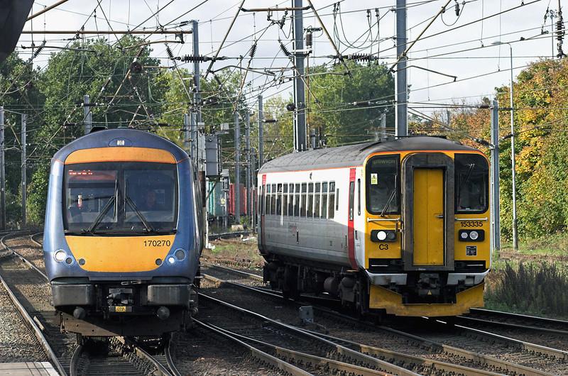 153335 and 170270, Ipswich 30/10/2012<br /> 153335: 2R13 1128 Felixstowe-Ipswich<br /> 170270: 2W13 1043 Cambridge-Ipswich