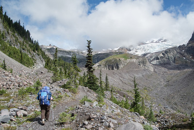 Heading up to Emerald Ridge.  I still remember going through this section for the first time in 2011 and just being blown away by the vista of Glacier Island, the Tahoma Glaciers, and the backdrop of Rainier itself.