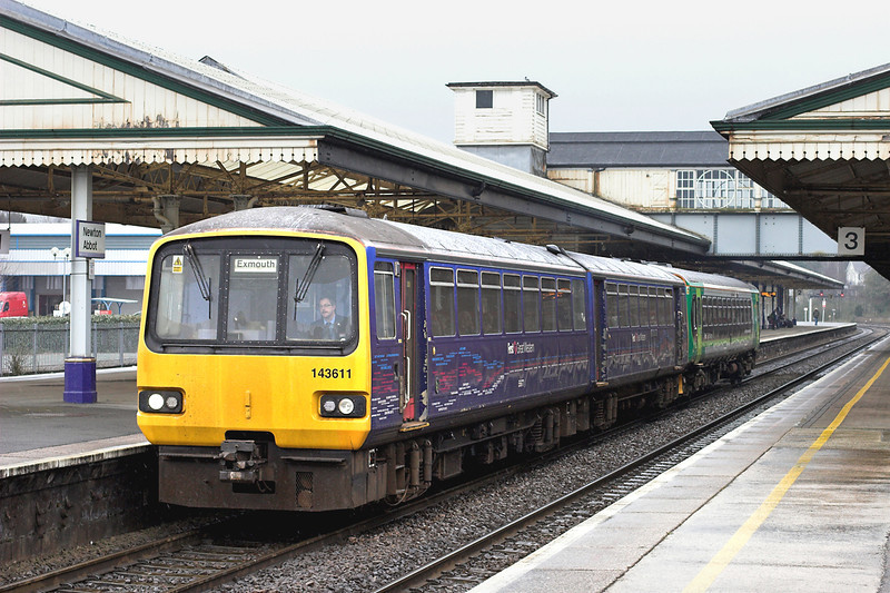 143611 and 153325, Newton Abbot 8/4/2013<br /> 2F21 1015 Paignton-Exmouth