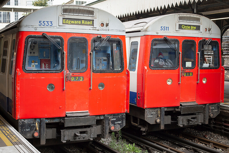 District Line 5533 and Hammersmith & City Line 5511, Edgware Road 10/8/2013