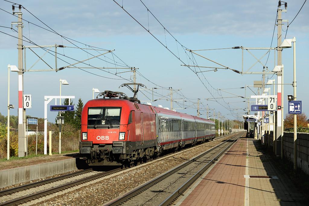 1116 171 Markersdorf a.d. Pielach 15/10/2013<br /> REX1940 1508 Wien Westbahnhof-Amstetten