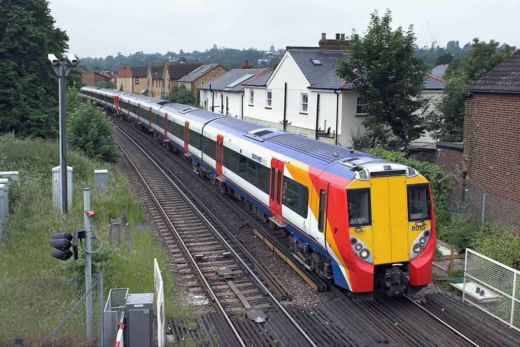 8013 and 8016, Egham 21/6/2013<br /> 2C30 1042 Reading-London Waterloo