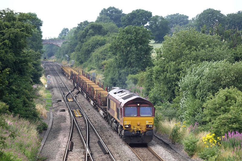 66011 Hatton North Junction 23/7/2013<br /> 6X01 1017 Scunthorpe-Eastleigh Yard