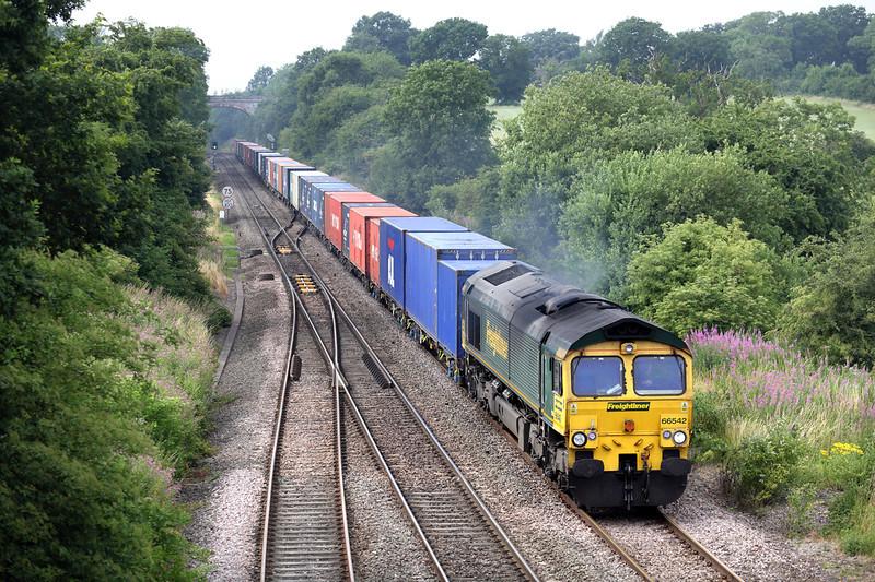 66542 Hatton North Junction 23/7/2013<br /> 4O09 1018 Trafford Park FLT-Southampton MT