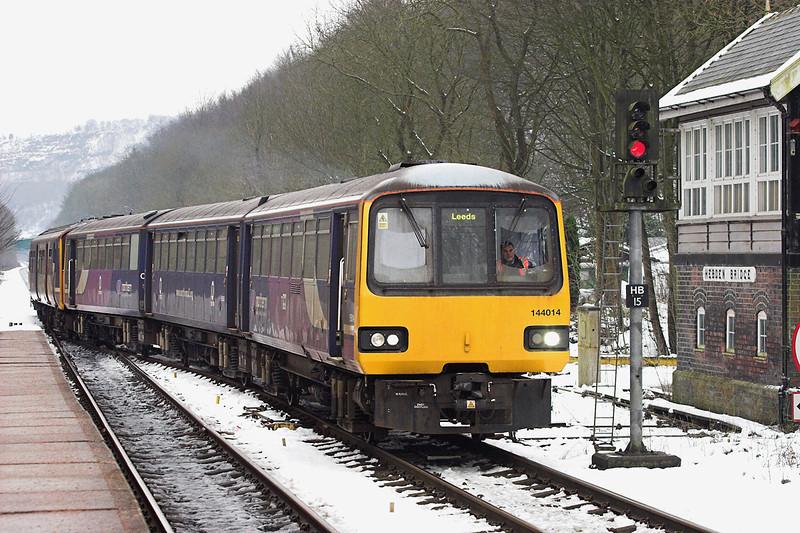 144014 and 150271, Hebden Bridge 25/1/2013<br /> 2U05 0941 Hebden Bridge-Leeds