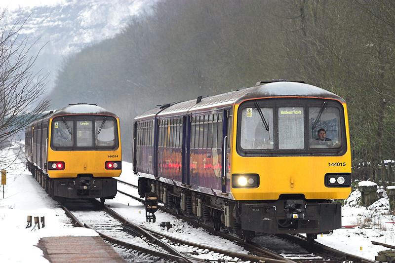 144015 and 144014, Hebden Bridge 25/1/2013<br /> 144015: 2U06 0813 Leeds-Manchester Victoria<br /> 144014: 2U05 0941 Hebden Bridge-Leeds