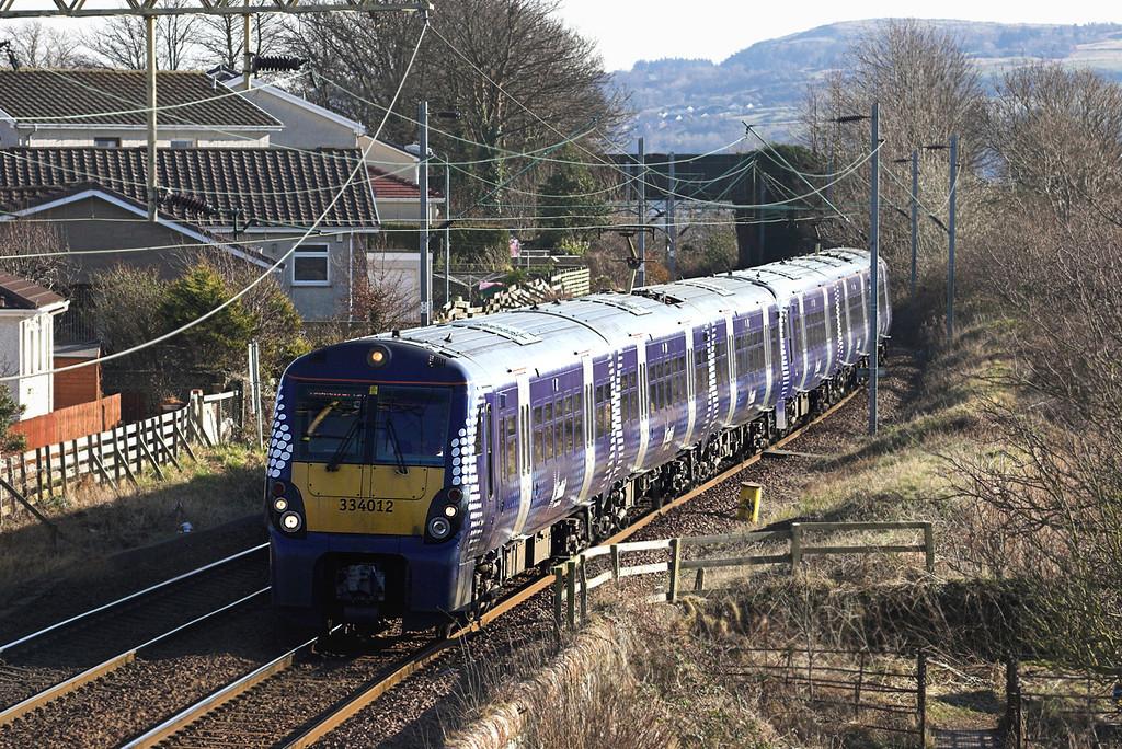 334012 and 334022, Cardross 25/2/2013<br /> 2H03 1221 Edinburgh-Helensburgh Central