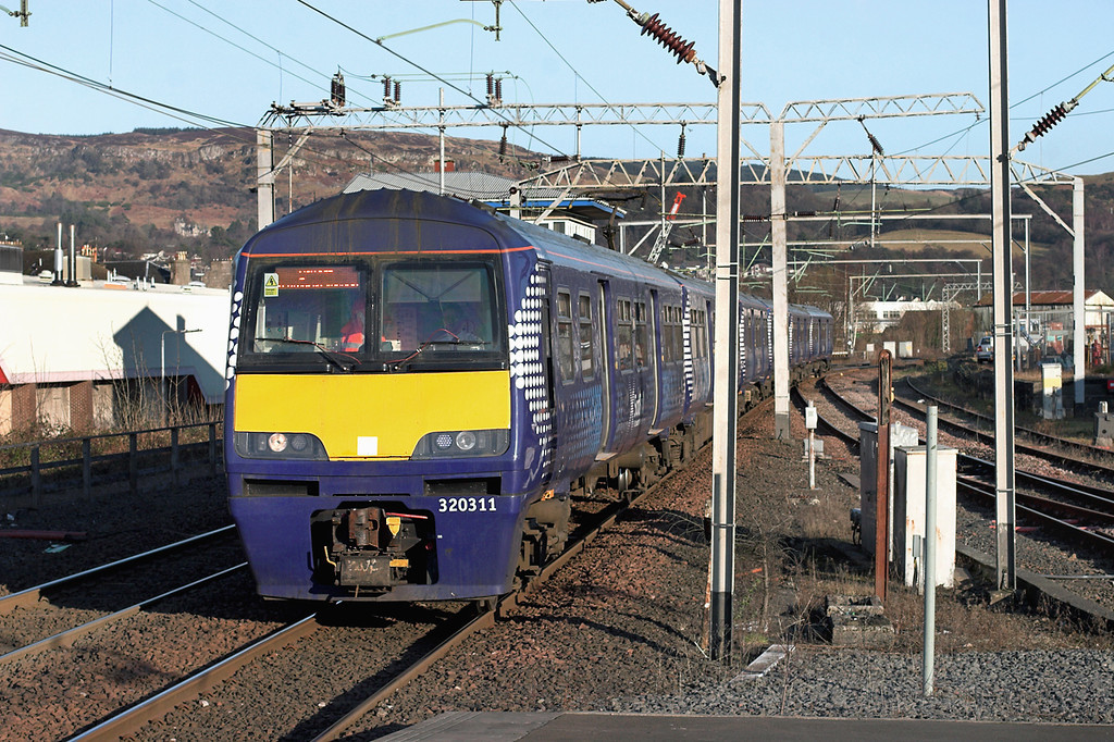 320311 and 320308, Dumbarton Central 25/2/2013<br /> 2E61 1457 Airdrie-Balloch