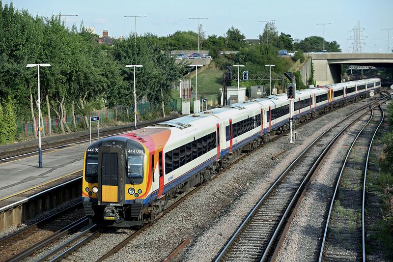 444008 and 444019, Millbrook 27/8/2013<br /> 1W73 1605 London Waterloo-Weymouth