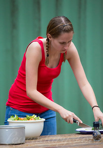 Ashlee making a dinner salad