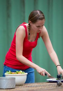 Ashlee making a dinner salad