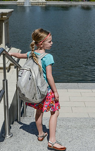 Carrying a backpack like a boss (Grand Basin at Forest Park)
