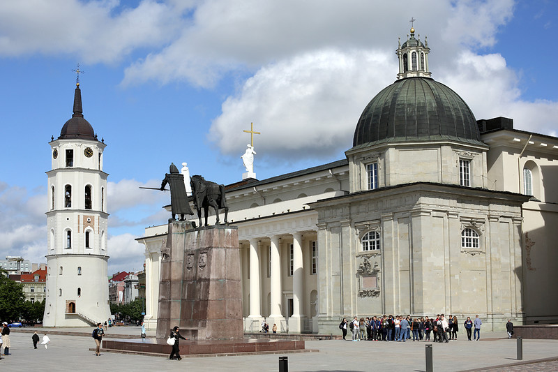 Cathedral, Cathedral Belltower and Statue of Gedinimas, Vilnius, Lithuania, 3/6/2014