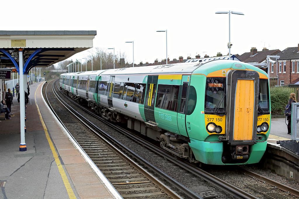 377150 Cosham 7/3/2014<br /> 1N65 1033 Brighton-Southampton Central