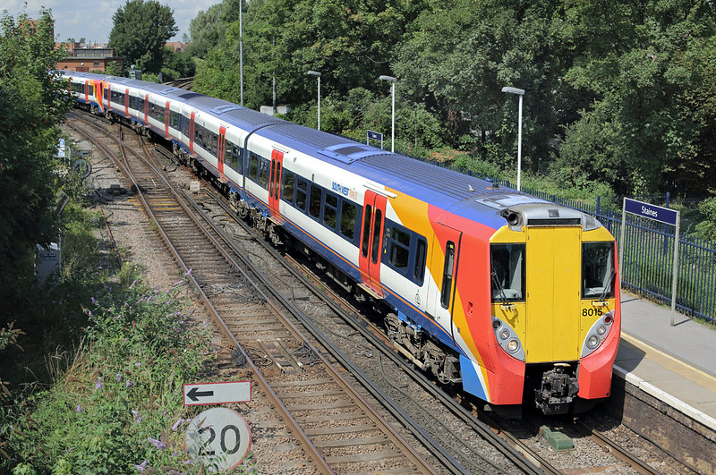 8015 and 8027, Staines 7/8/2014<br /> 2C34 1142 Reading-London Waterloo