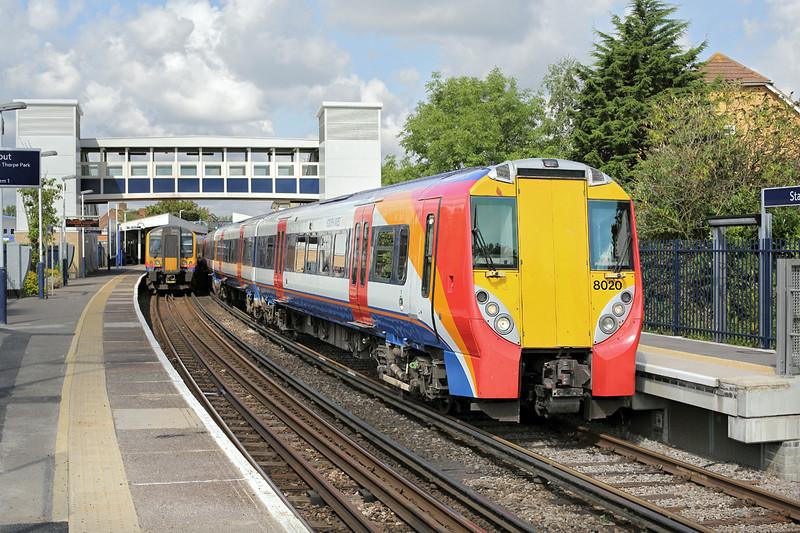 8020 and 450001, Staines 7/8/2014<br /> 8020: 2C94 0956 Reading-London Waterloo<br /> 450001: 2S23 0952 London Waterloo-Weybridge