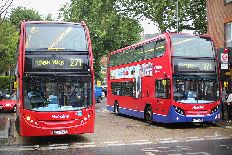 TE930 LK58KGO and TE687 LK06LFA, Highgate 8/7/2014