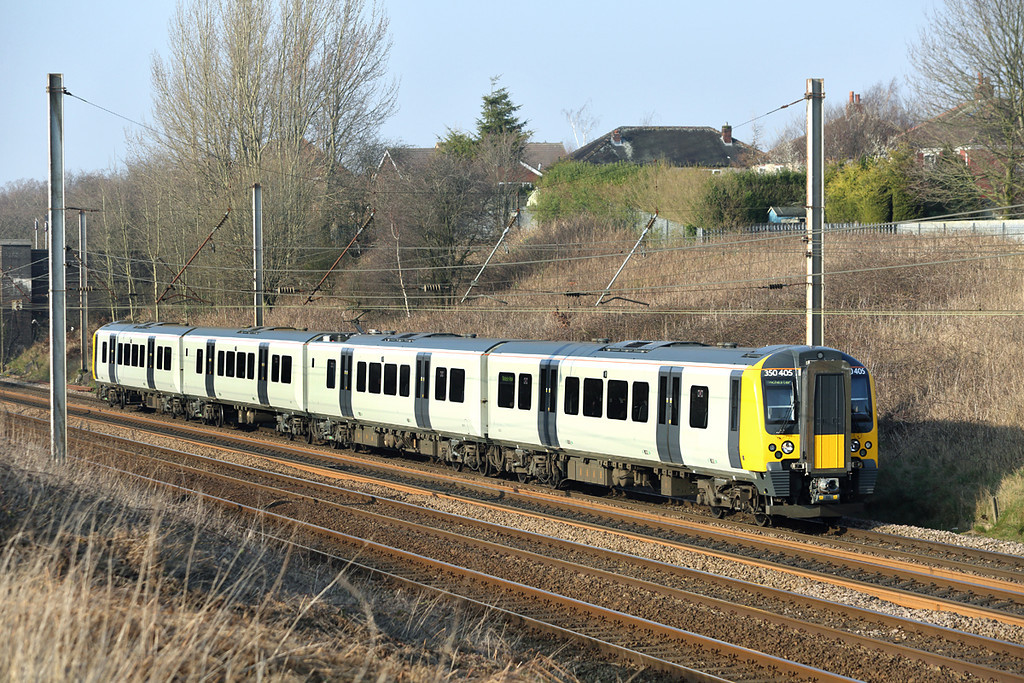 350405 Lostock Hall 12/3/2014<br /> 1M98 1309 Glasgow Central-Manchester Airport