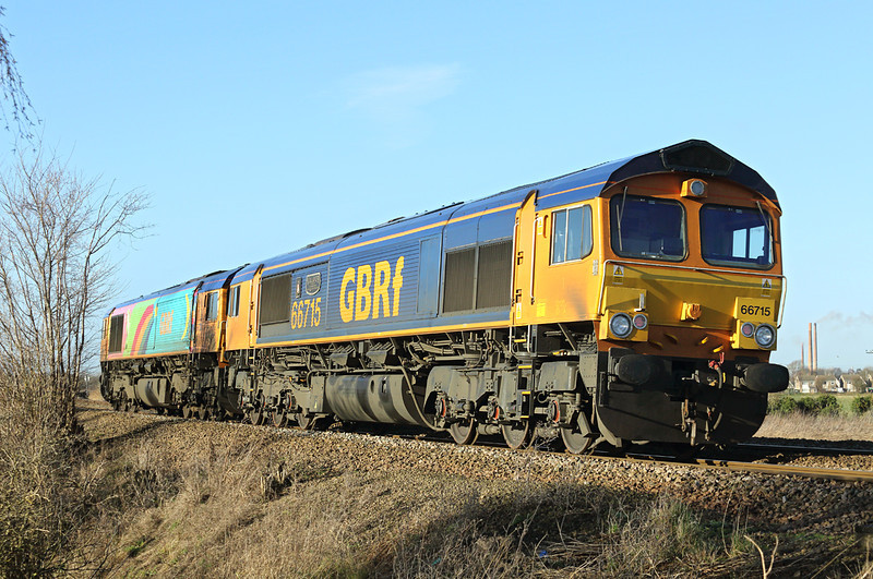 66715 and 66720, Whittlesea 13/1/2014<br /> 0H06 1007 Whitemoor Yard-Peterborough Shed