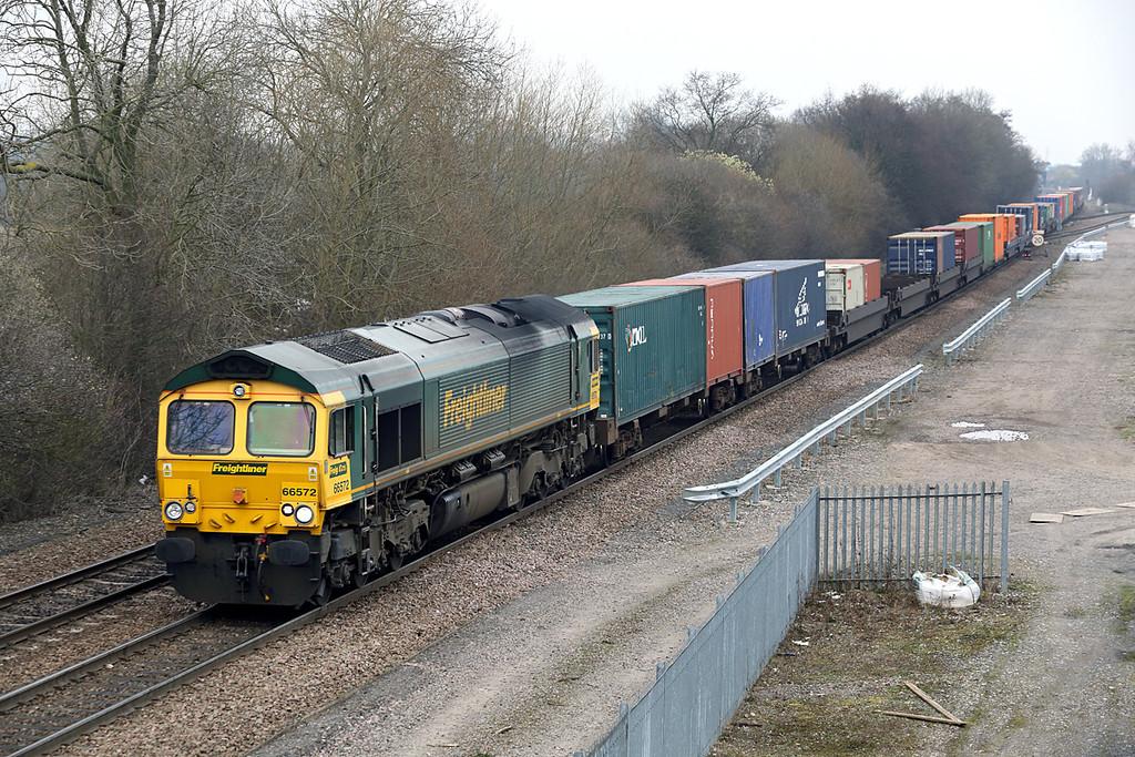 66572 Stenson Junction 14/3/2014<br /> 4O55 1212 Leeds FLT-Southampton MT