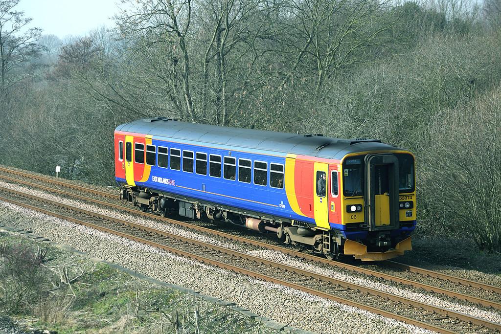 153374 North Stafford Junction 14/3/2014<br /> 1K08 1007 Crewe-Derby