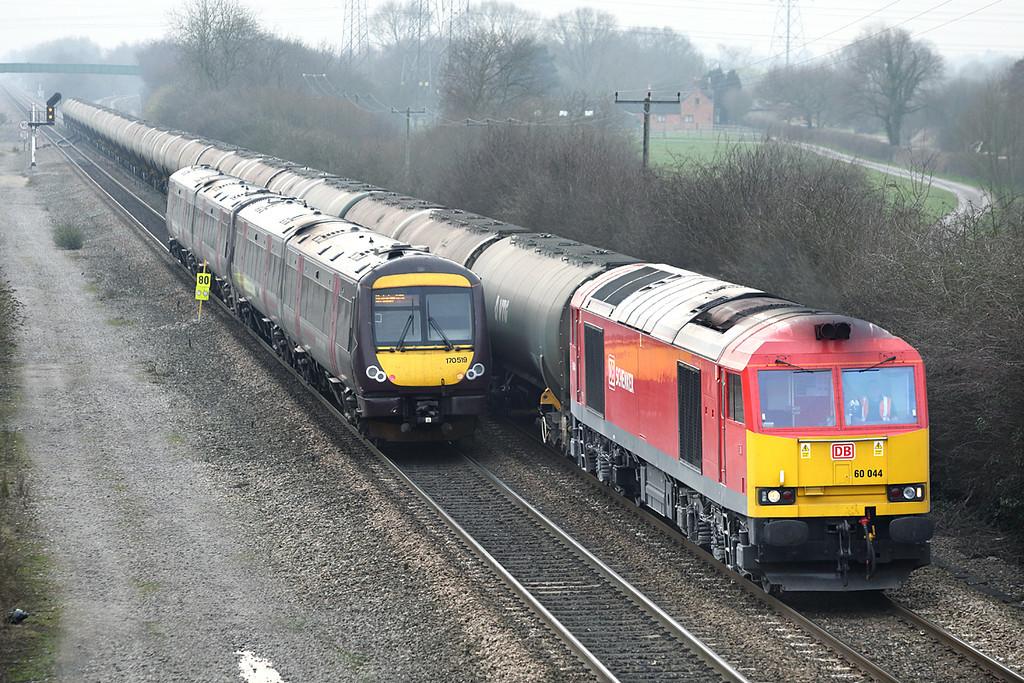 60044 and 170519, Stenson Junction 14/3/2014<br /> 60044: 6E41 1141 Westerleigh-Lindsey Oil Refinery<br /> 170519: 1G38 1441 Nottingham-Birmingham New Street