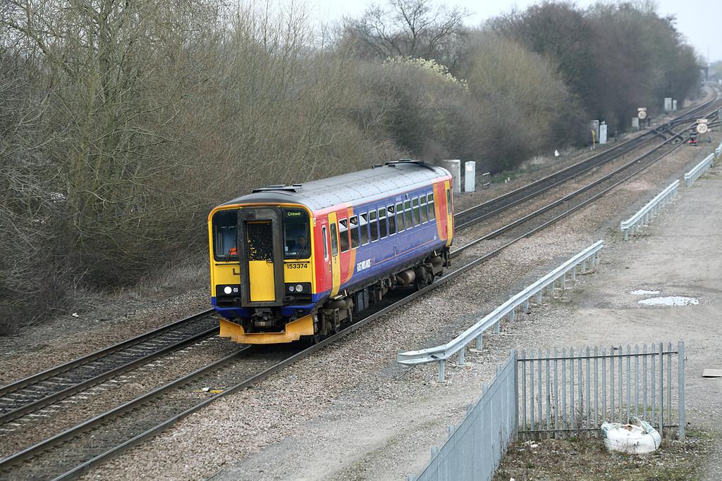 153374 Stenson Junction 14/3/2014<br /> 1K17 1442 Derby-Crewe