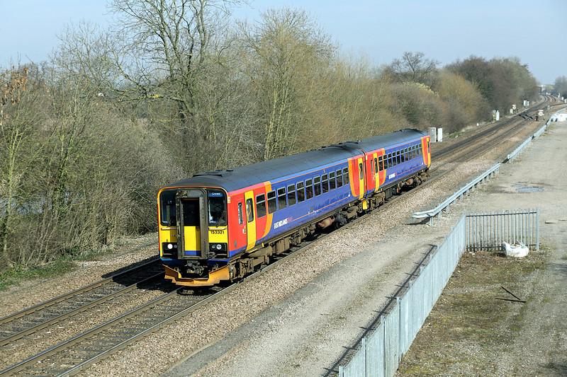 153321 and 153383, Stenson Junction 14/3/2014<br /> 1K13 1242 Derby-Crewe