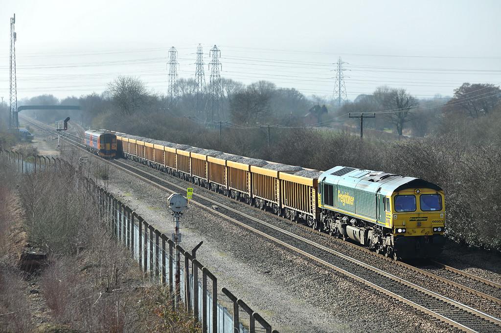 66953 Stenson Junction 14/3/2014<br /> 6Z89 1108 Bardon Hill Quarry-Doncaster Down Decoy