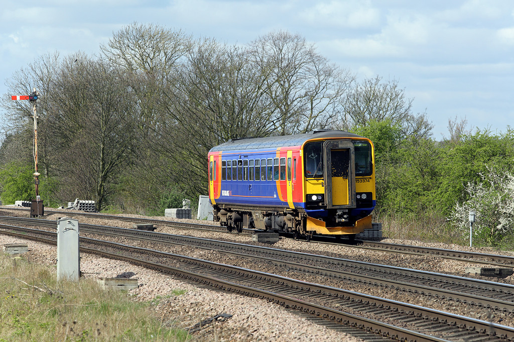 153374 Barnetby 14/4/2014<br /> 2T21 0957 Newark Northgate-Grimsby Town