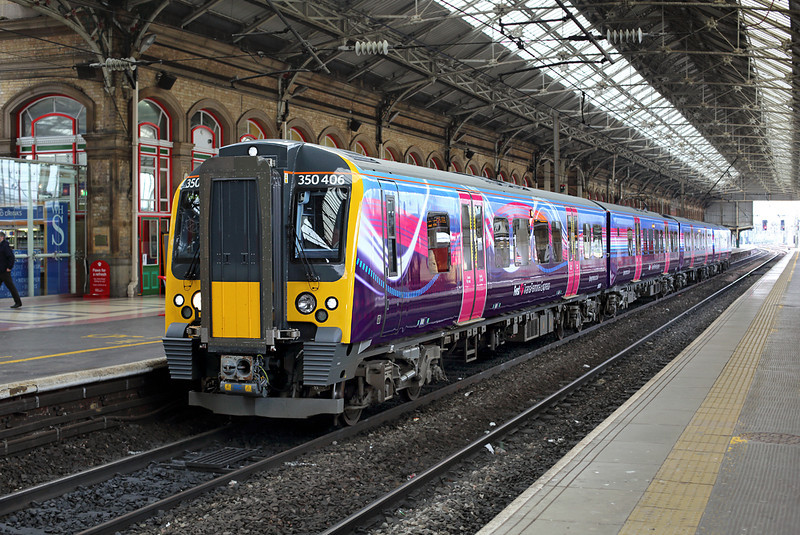 350406 Preston 17/4/2014<br /> 1S35 0700 Manchester Airport-Glasgow Central