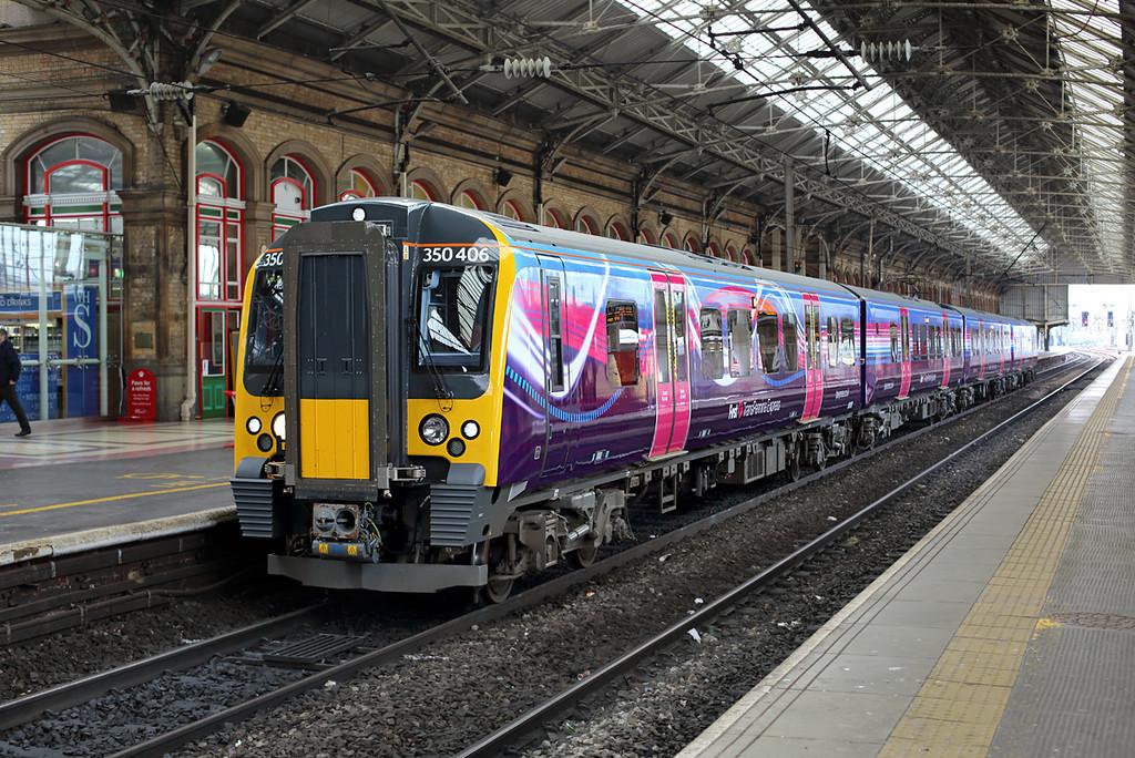 350406 Preston 17/4/2014<br /> 1S35 0700 Manchester Airport-Glasgow Central