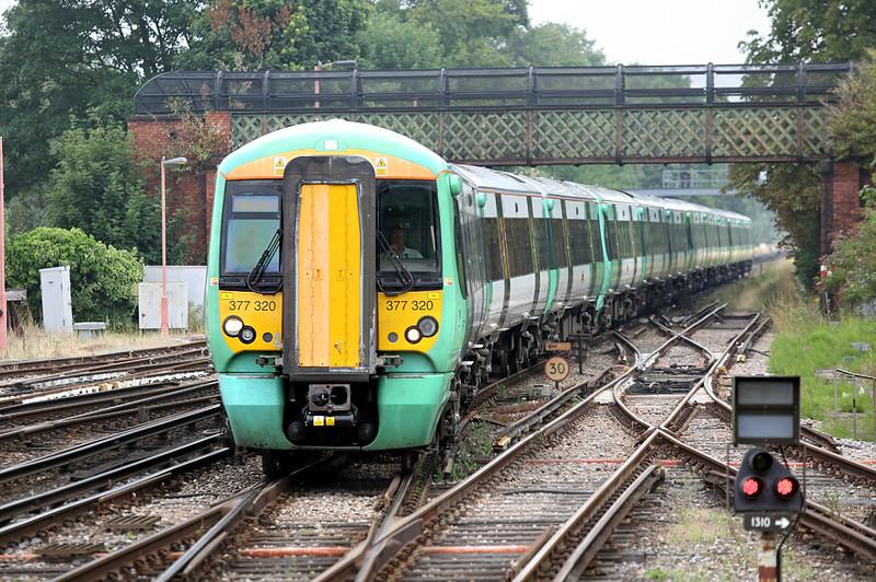 377320, 377324, 377307 and 377316, Redhill 21/7/2014<br /> 2C55 0901 London Bridge-Horsham