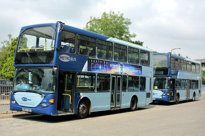 492 YN53RZE and 487 YN53RYZ, Crawley 21/7/2014