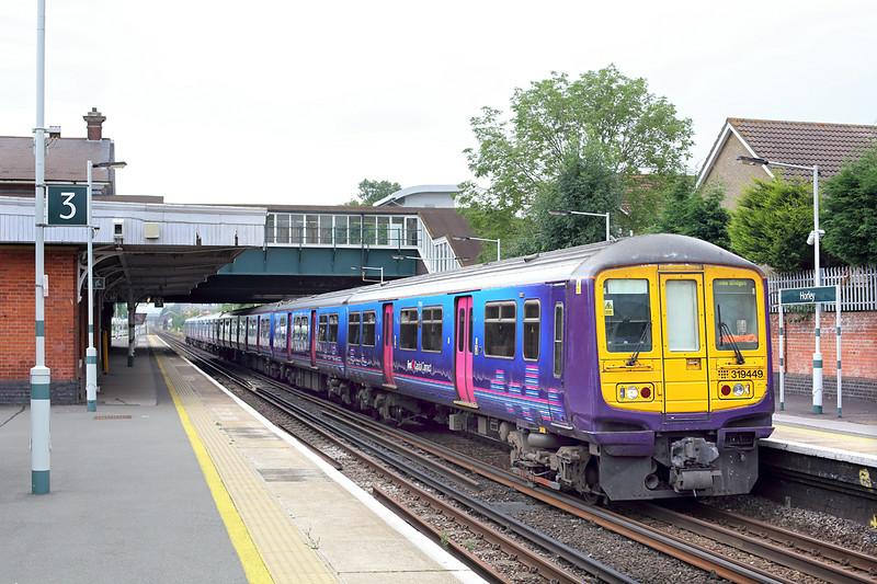 319449 and 319423, Horley 21/7/2014<br /> 1T19 0910 Bedford-Three Bridges