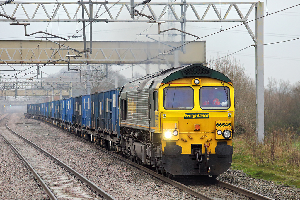 66545 Acton Bridge 28/11/2014<br /> 4F33 0914 Bredbury-Runcorn Folly Lane