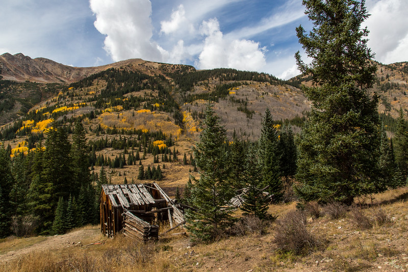 Old Mining Cabin with Virginia Peak Ridge in the Background
