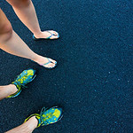 Picture of our feet on the black sand