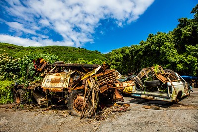 Wrecked vehicles in Maui